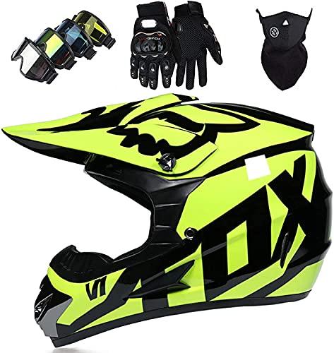MoreJieka - Juego de casco de motocross para motocicleta, casco de motocross con gafas, máscara y guantes para moto de suciedad, casco para negro y amarillo brillante