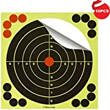 BOSICAN 50-Sheet Reactive Splatter Shooting Targets 8 Inch, Silhouette Hunting Practice Paper Paster Bright Fluorescent Yellow Upon Hitting for Games, Pistols, Rifles, BB Guns, Airsoft, Pellet Guns