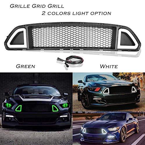 QTCD Auto Front Honeycomb Grill Gitter, Geeignet Für Ford Mustang 2015 2016 2017, Stoßstangenkühler Lufteinlass Grill Modifiziertes Zubehör, Abs, Mit Led-Licht, Weiß