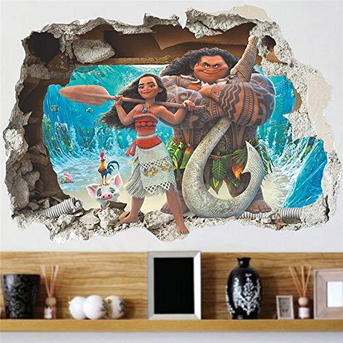 CSCH Wandtattoo Kinderzimmer 3D-Effekt Moana Wandaufkleber Cartoon Film Vaiana Wandtattoo PVC Moana Maui Poster DIY Wallpaper Poster