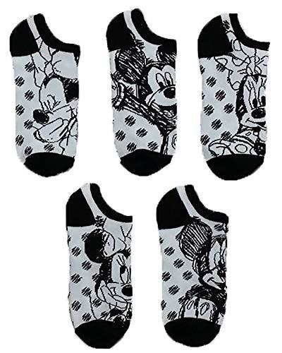 Disney Minnie Mouse Damen Socken 5er-Pack No Show, Schwarz / Weiß Multi, passend für Schuhgröße 4–45