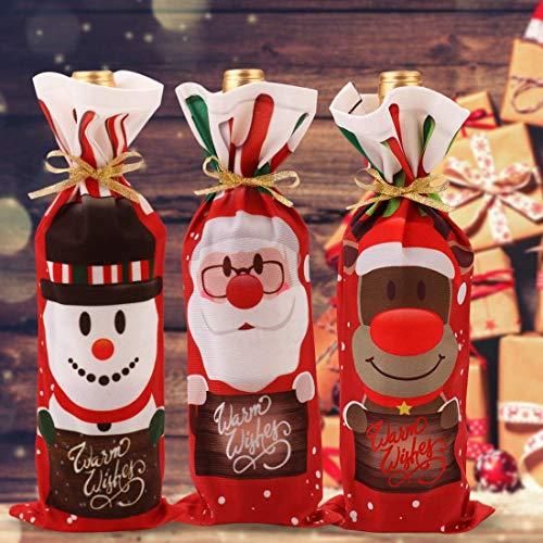 Kerstmis Wijnflessen Tassen, 3 STKS Xmas Rode Wijn Fles Cover Tassen met Tekenreeksen Santa Snowman Elk Wijnfles Decor Bag Covers voor Kerstmis Diner Wijnproeverij Feesttafel Decoraties
