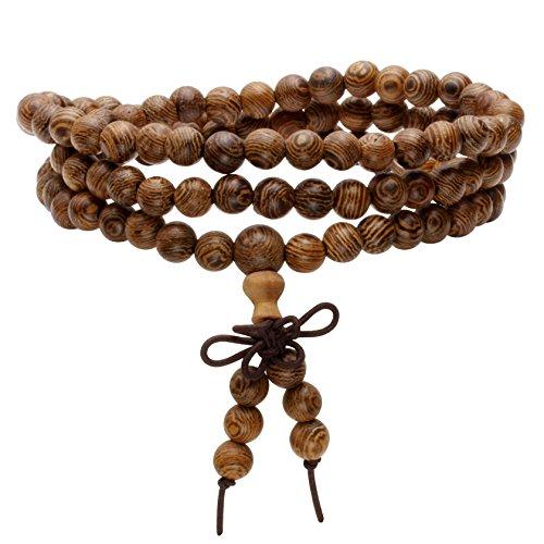 MILAKOO 6mm108 Wood Beads Bracelet/Necklace Mala Prayer Buddha Meditation Link Wrist Bracelet…
