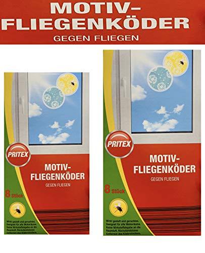 PRITEX Motiv Fliegenköder / 2 x 8 Stück / 2 Verschiedene Motive (2 Pakungen)