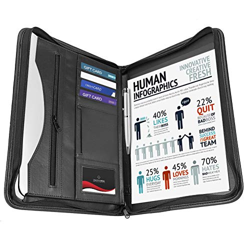 Yosoo Health Gear Zippered Leather Business Portfolio, A4 Zipped Conference...