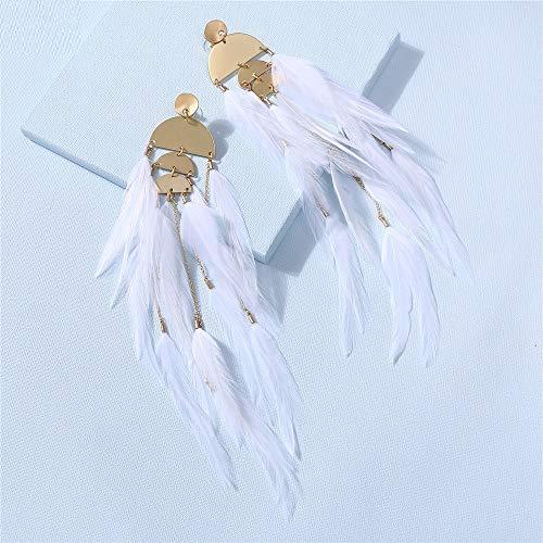 SALAN Pendiente De Plumas Blancas Pendientes De Plumas De Avestruz Largo Aleación De Oro Vintage Cuelga De La Joyería De Moda Regalo para Las Mujeres