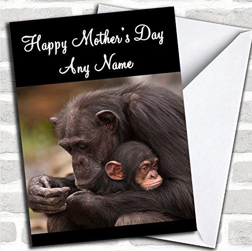 Baby aap knuffelen moeder Moederdag kaart met envelop, kan volledig worden gepersonaliseerd, verzonden snel en gratis