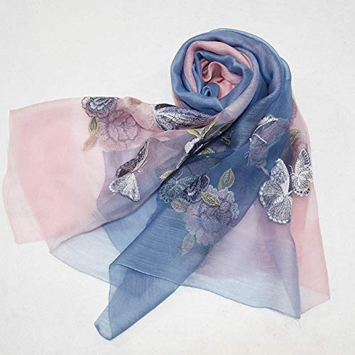 YANHTSO Seidenschals Herbststickerei, Seidenschals, bestickte Schals, Wolle, Herbst und Winter Schals (Farbe : K)