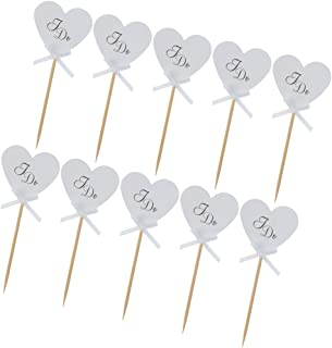 Flameer 10x Vintage Kraft Heart I DO Cake Topper Cupcake Pick Rustic Wedding Party Décor - White, as described