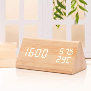 Digital Wooden Alarm Clocks for Bedrooms with LED Large Display, 3 Alarm Setting and Humidity Temperature Detect, Adjustable Brightness Voice Control with USB Battery Powered for Study/Office - Bamboo
