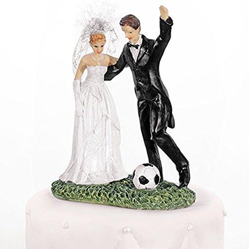 Hochzeitstortenfiguren Fußball 14 cm - Tortenfiguren Hochzeit Tortendeko Hochzeit Figuren Hochzeitstorte Tortenfigur Hochzeitspaar Tortenaufsatz Brautpaar Aufsatz Hochzeitstorte - Nr.31