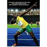 Usain Bolt Película inspiradora/Cita motivacional Póster Seda decorativa Pintura de pared Imágenes Impresiones en lienzo Arte de la pared-50x70cm Sin marco