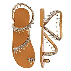 Clear Rhinestone Pearl Flat Gladiator Sandal With Toe Ring