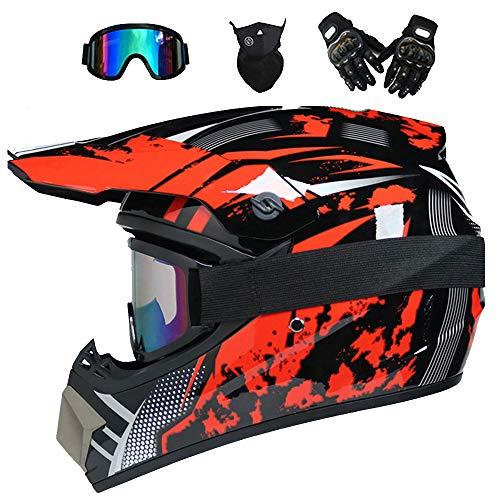 CNSTZX Unisexo Adulto Motocross Casco, Gafas, Máscaras, Guantes 4PCS, Integral de Campo...