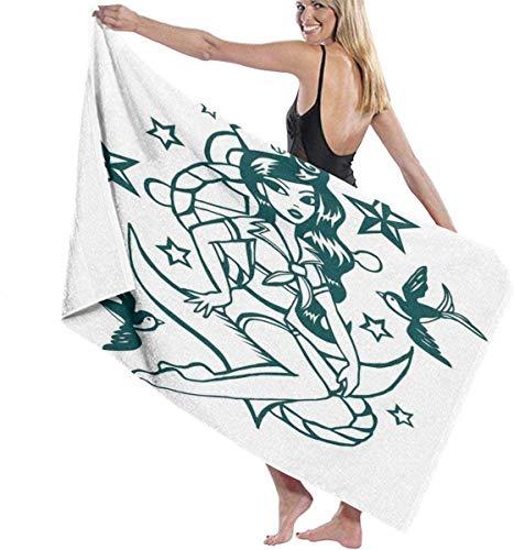XCNGG Diseño Floral Vintage con Flores de remolinos de Hiedra Diseño étnico Impresión de Imagen Quick Dry Super Absorbent Ligero Delgado Novedad Toallas de Playa de baño 32 x 52 Pulgadas