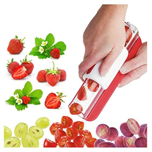 Cortador de uva de fresa, cortador de uva de fresa, cortador de uva, ensalada de frutas y verduras, 1 unidad, color al azar