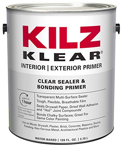 KILZ L220101 KLEAR Multi-Surface Stain Blocking Interior/Exterior Latex Primer/Sealer, Clear, 1-Gallon, 1 Gallon, 4 l