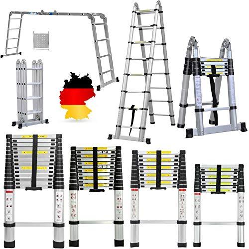 Teleskopleiter 5M Klappbar Leiter Stehleiter Mehrzweckleiter Ausziehbar Aluleiter 2.5M + 2.5M Leiter Klappleiter, 150 kg/330 Pfund Belastbarkeit