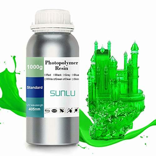 SUNLU 3D Printer LCD UV Resin 405nm Rapid Resin Fast-Curing Photopolymer For The Photon/s Liquid 3D Resin High-Precision For LCD/DLP/SLA 3D Printer, 1000ml Transparent Green