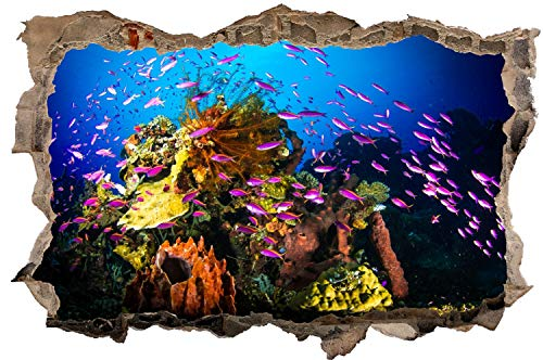 DesFoli Unterwasserwelt Fisch Meer Korallen Wandtattoo Wandsticker Wandaufkleber D2037 Größe 60 cm x 90 cm
