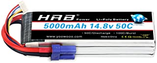 HRB 4S Lipo Battery 14.8V 5000Mah 50C with ec5 Connector for Traxxas RC Cars RC Quadcopter Airplane Car Truck Boat Hobby