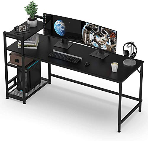 120x60x75cm Desks /& Workstations for Home Office Bedroom HOMIDEC Office Desk Computer Desk With Bookshelf PC Study Writing Desk for Home Working with Storage Shelves