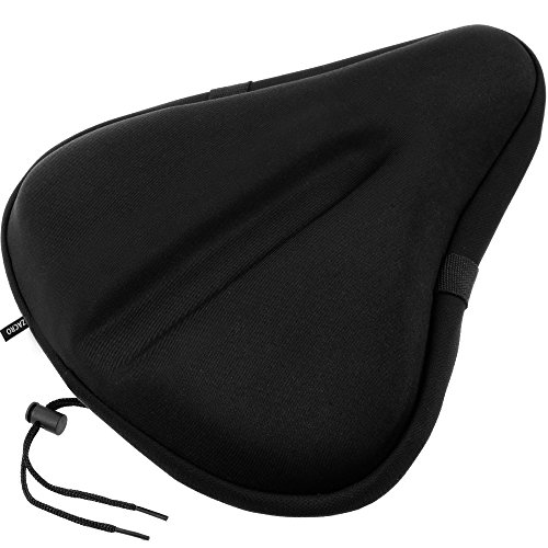 Zacro Big Size Exercise Bike Seat Cover, Soft Wide Gel Bicycle Cushion for Bike Saddle, Comfortable Bike Seat Cover Fits Cruiser and Stationary Bikes, Indoor Cycling, Spinning with Waterpoof Cover
