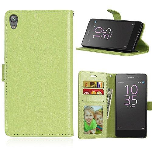 Fatcatparadise Coque pour Sony Xperia E5 [avec Verre Trempé], PU Cuir Flip Housse Magnétique Étui Cover Wallet Portefeuille Support avec Porte-Cartes Pochettes Case (Vert)