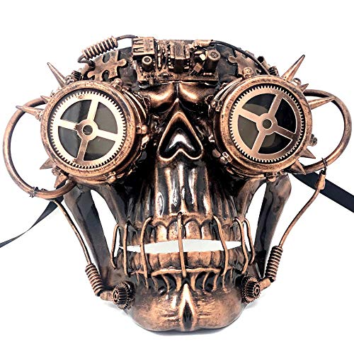 Storm Buy ] Steampunk Style Metallic Scary Horror Skeleton Mask for Halloween Costume Cosplay Party (Copper&Goggle)