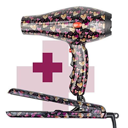 ID Italian Design Lovely Style - Pack Secador + Plancha de Pelo | Estampado Corazones