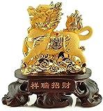 HYBUKDP Estatuas Estatuillas coleccionables Inicio Escultura Feng Shui Riqueza: Atraer la Resina Dorada Qilin/Kylin Statue Atraer Riqueza y Buena Suerte Feng Shui Decor Escultura de la Mascota