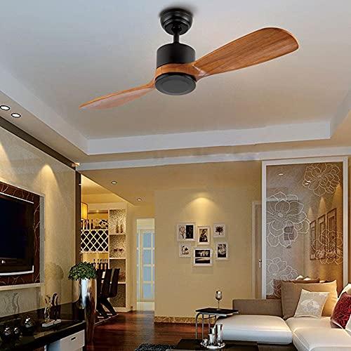 Yaseking 42 pulgadas Dos cuchillas Lámpara de ventilador de techo sin luz con control remoto Fans Lámparas Sala de estar Sala de camas Hoetel Dropshipping (Blade Color : Red peach color)