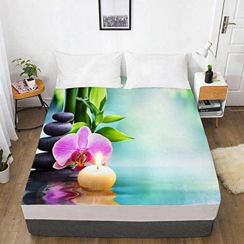 lhmlyl Double Mattress Protector Digital Printing 3D Bed Sheet, Mattress Cover, Landscape-Landscape 035-White-F_180X200X30Cm