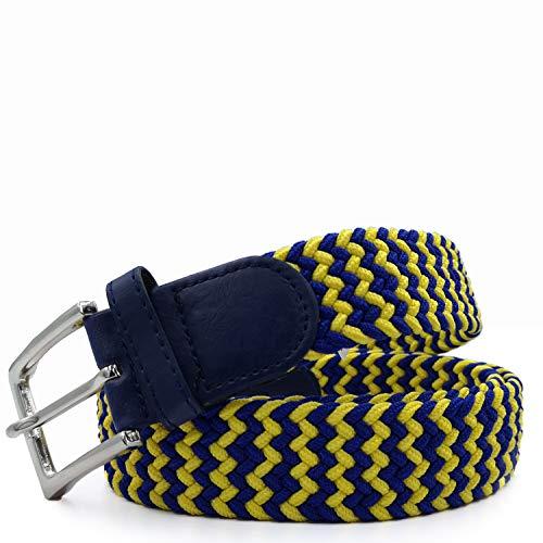 Gloop Cintura elastica unisex in tessuto intrecciato, per uomo e donna, lunghezza totale 105 cm/110 cm/115 cm/120 cm. Larghezza: 3,5 cm. Made in Germany. giallo blu. lunghezza totale 120 cm