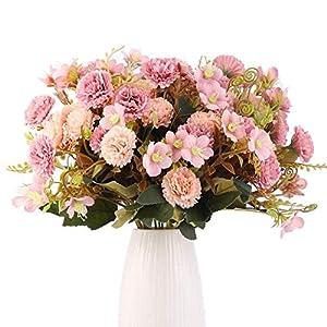 Artificial Flower Bouquets, Fake Lilac Flowers, Silk Bouquet Flowers, Realistic Flower Centerpiece Arrangements for Festival Home Party Wedding Decoration Pack of 5,Artificial Flowers (Russet-red)