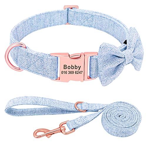 PET ARTIST Hundehalsbänder für Mädchen mit Abnehmbarer Fliege weich und bequem, niedliches Hundehalsband und Leine Set mit rotgoldener Schnalle, verstellbare Fliege für kleine mittelgroße große Hunde