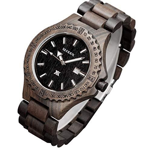 XLORDX Herren Holzuhr Datum Analoge Japanisch Quartzwerk Schwarz Sandelholz Armband