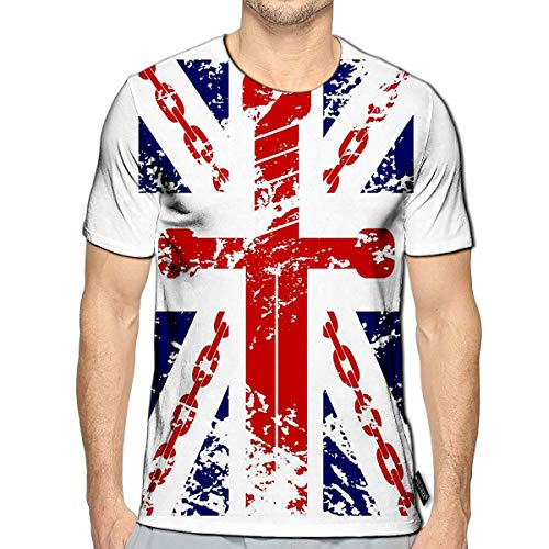 YILINGER T-Shirt 3D Printed British Flag Blue Red White Chain Sword Casual Tees c