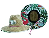 Woman's Sun Hat Straw Hat with Fabric Print Lifeguard Hat Great for Beach Ocean, Cruise, and Outdoor, Malabar Hat Co. (Flamingo Hat)