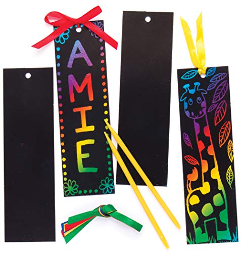 Baker Ross EK3093 Scratch Art Bookmarks - Pack of 12, Perfect for Children to Design and Decorate, Black