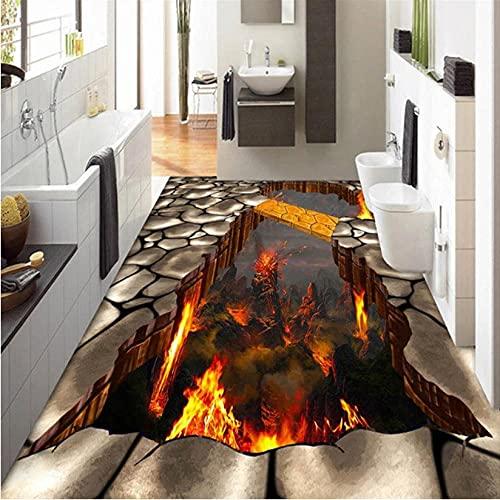 Custom Flooring Muurschildering Behang Lava Stone Magma 3D Stereoscopische Vloer Sticker Schilderen PVC Zelfklevend…