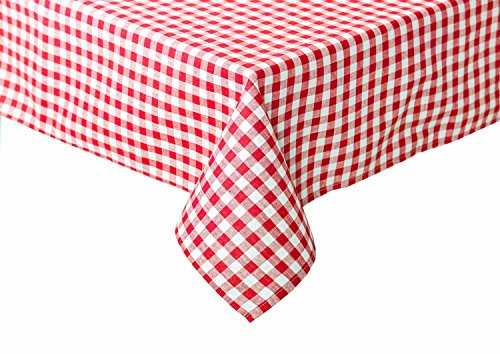 Landhaus Tischdecken in Karo Farbe und Größe wählbar 100% Baumwolle (rot-weiß kariert, 130x130 cm eckig)