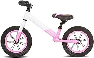 AMDHZ チャイルドバランスバイク 5CMタイヤを広げる 1?6歳 ペダル自転車なし アルミバランスバイク 簡単制御 12インチ エアタイヤ バランス自転車 (Color : White+Pink, Size : 100x60cm)