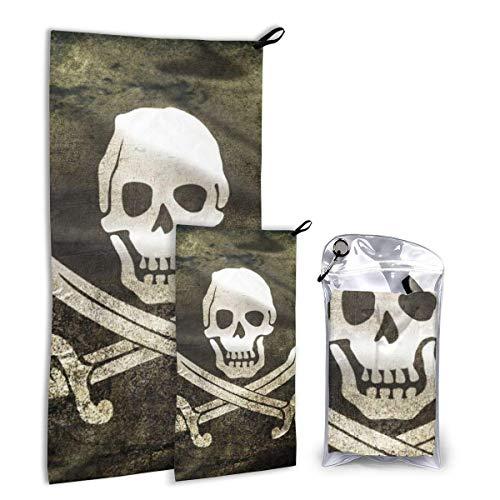 Lawenp Juego de Toallas de Viaje de Microfibra con Bandera de Calavera Pirata, 2 Unidades Grandes (37,5 x 55 Pulgadas, 16 x 32 Pulgadas) para Deportes, Caza, Playa T