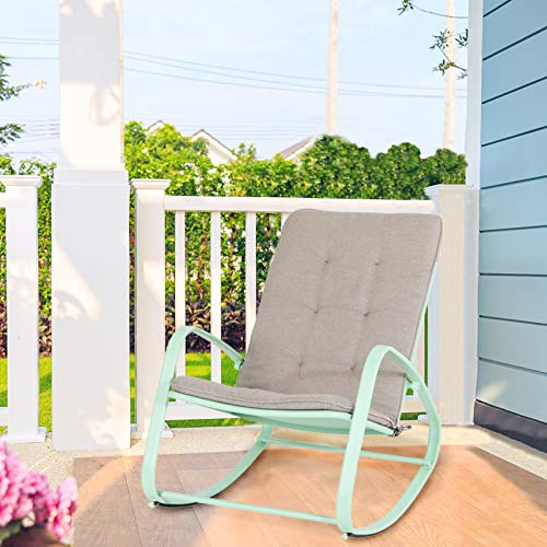 PHI VILLA Outdoor Patio Metal Rocking Chair, Padded Modern Rocker Chairs with Cushion, Support...