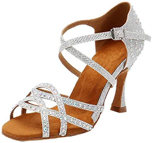 MGM-Joymod - Sandali da donna con cinturino incrociato, con cristalli e tacco svasato, salsa, tango latino, scarpe da ballo per matrimoni, Tacco argentato glitterato 9 cm, 39.5 EU