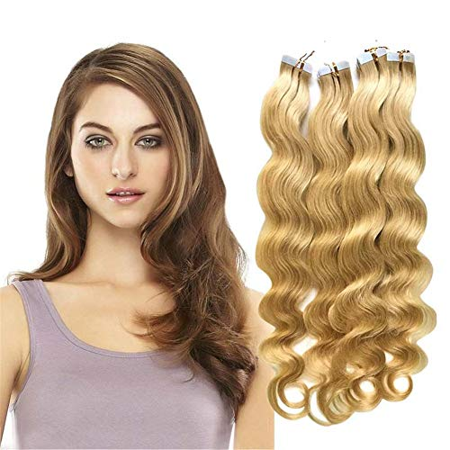 RemeeHi Tape in Hair Extensions Human Hair 28 Inch 50g/pack 20pcs Seamless Skin Weft Remy Curly Hair with Brazilian Hair 16# Golden Blonde
