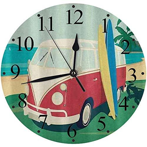 LUHUN Reloj de Pared Moderno,Divertido autobús Retro con Tablas de Surf en The Tropical Beach Old Camping Daysreloj de Cuarzo de Cuarzo Redondo No-Ticking para Sala de Estar 30 cm