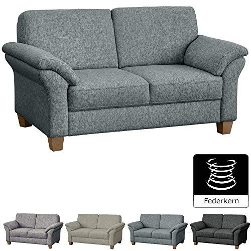 CAVADORE 2-Sitzer Byrum / Große Couch mit Federkern / Edle Sofa Garnitur im Landhausstil / 156 x 87 x 88 / Hellgrau