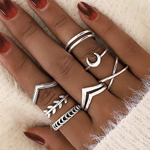 Ushiny Anillo de dedo Boho Moon Anillo de plata de hoja de anillo de moda tallado en cruz anillos de moda apilables anillos de joyería accesorios para mujeres y niñas (7 piezas)